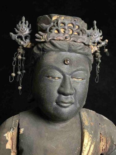 Large Japanese lacquer/wood Dainichi Nyorai Buddha w/crystal inlays 17-18th c