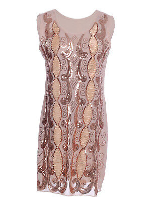 Womens Beige Sequin Flapper Embroidered Sleeveless Swirl Ribbon Party Dress US