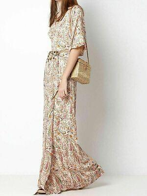 INTROPIA Women's Maxi Dress Silk Kimono Style Sleeves Split Size EU42 RRP £420