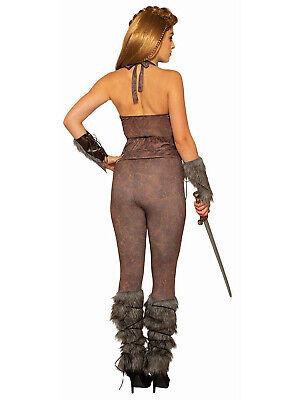 Wikinger Frauen Krieger Barbar Lederoptik Kostüm Leggings ()
