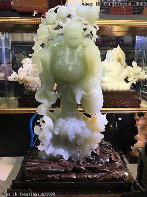 China Natural White Jade Stone Carved Maitreya Buddha Statue of Amitaba Maitrey for sale  Shipping to Canada