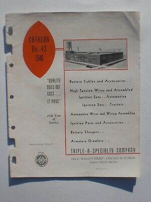 Triple-A-Specialty Co Chicago Illinois Catalog No. 43 1946 Battery cables wire