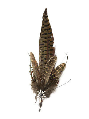 Deluxe German Hat Feather with Edelweiss Medallion Pin