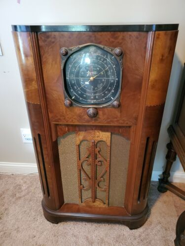 1936 Zenith 12-U-159 12 Tube Floor Antique Radio with Color Dial - Working!