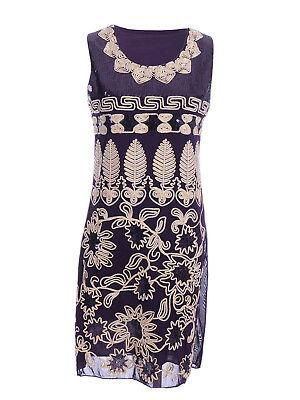 Womens Art Deco Gatsby Sequin Flower Leaves Sleeveless Cocktail Wedding Dress - Gatsby Deco
