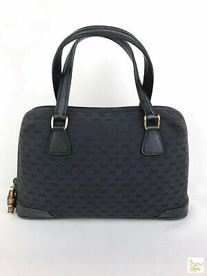 $895 GUCCI Black Mini GG Web Canvas Bamboo Zip Vintage Small Dome Satchel Bag