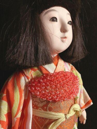 "Superb 17"" Japanese Ichimatsu gofun doll with glass eyes in glass display case"