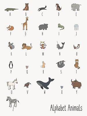 Ib Laursen Letrero Animal Alfabeto - Decoración Metal Placa de Chapa Letras...