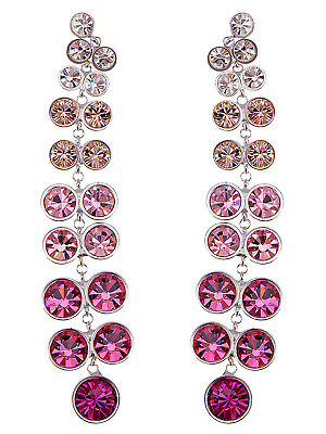 Alimarket Multicoloured Fuchsia Berry Long Trickling Crystal Element Earrings