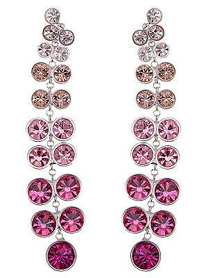 - Alimarket Multicoloured Fuchsia Berry Long Trickling Crystal Element Earrings