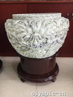 23'' Natural Lantian jade carved cloud-dragon fish tank Bowl jar statue