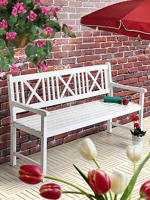 AALBORG Gartenbank Sitzbank Holzbank Bank Garten Balkon weiß Terrasse Designer