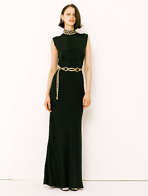 ALESSANDRA RICH $3,100 embroidered chain choker gown long silk maxi dress 42 NEW