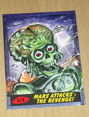 2017 Topps MARS ATTACKS Revenge 1/1 sketch card Lily Mercado b