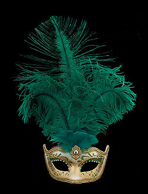 Mask from Venice Colombine in Feathers Ostrich Shayla Green 1454 VG10