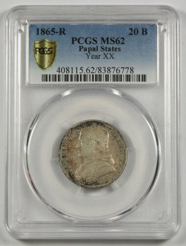 1865 R Papal States Year XX 20 Baiocchi Silver Coin MS62 PCGS KM1360