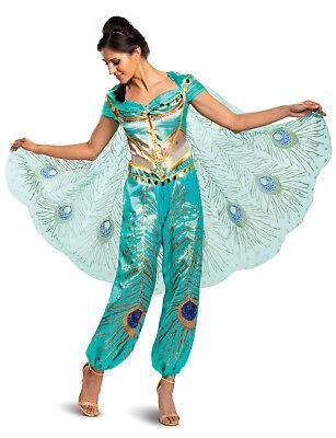 Prinzessin Jasmin Damen Erwachsene Disney Aladdin Live Aktion Blaugrün (Damen Disney Jasmine Kostüm)