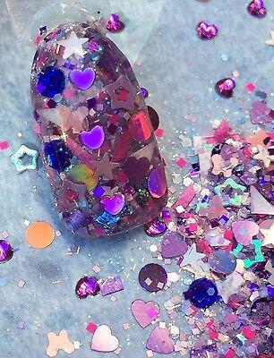 gel nail art   PURPLE UP  (Purple Glitter)