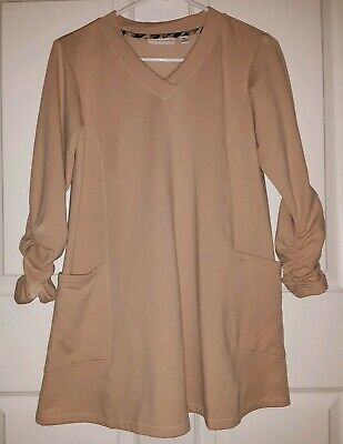 Susan Graver French Terry V-neck Tunic w/ Ruched Sleeves & Side Pockets Sz. XXS