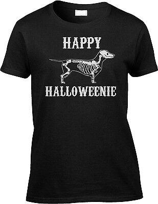 Happy Halloweenie Dachshund Halloween Pun Parody Funny Joke Humor Womens Tee