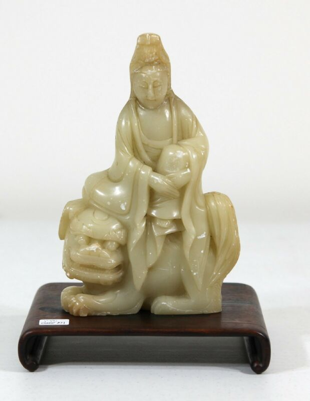 "9"" Antique Chinese Qing dynasty white furong Soapstone Kwanyin with stand"