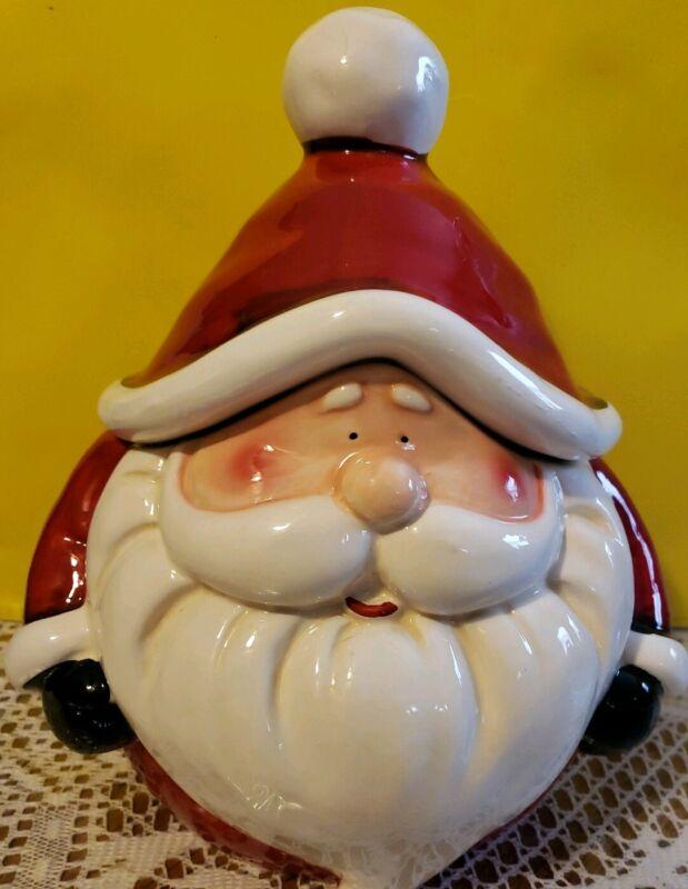 Whimsical Cupboard Santa Cookie Jar