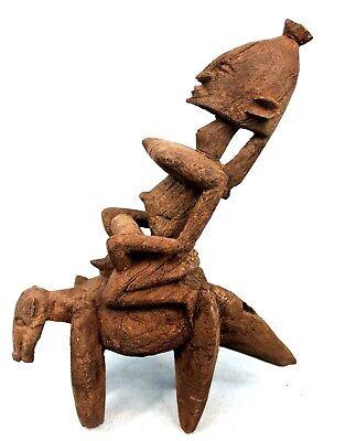 Art African - Antique Rider Dogon - Statue Equestrian Wooden - 32,5 CMS