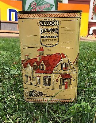 RARE Vintage WELDON Babyland Mix Hard Candy Up To Date Candy Mfg Co 5 Lb Tin Can](Hard Candy Company)