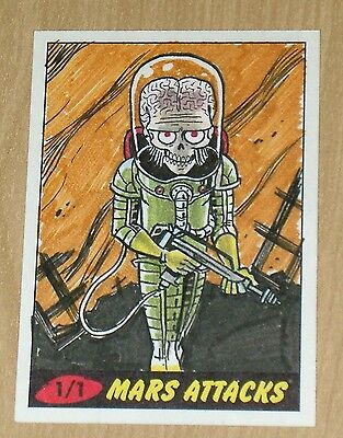 2012 Topps Heritage MARS ATTACKS sketch card Jacob Chabot 1/1 COLOR