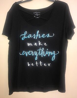 Women's Boutique Tshirt Lashes Make Everything Better Size 1X (Best Plus Size Boutiques)