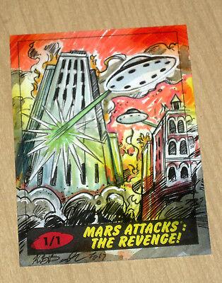 2017 Topps MARS ATTACKS Revenge 1/1 sketch card Kiley Beecher b
