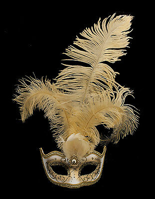 Mask from Venice Colombine in Feathers Ostrich Lina Golden 1446 VG10