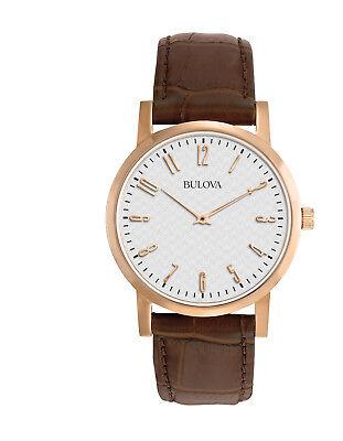 Bulova Classic Men's 97A106 Quartz Rose Gold Case Brown Leather Strap 38mm Watch