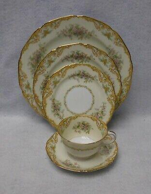 - NORITAKE china BAVAN pattern 5-piece Place Setting - back chip on bread plate