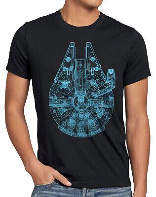Millennium Falcon Herren T-Shirt wars krieg rasender falke star der sterne solo ()