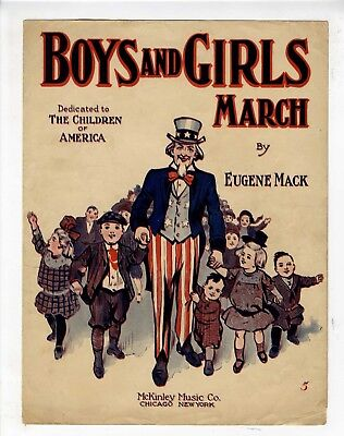 UNCLE SAM LATER EDITION Sheet Music 1913 The Unitus March BETHLEHEM PA