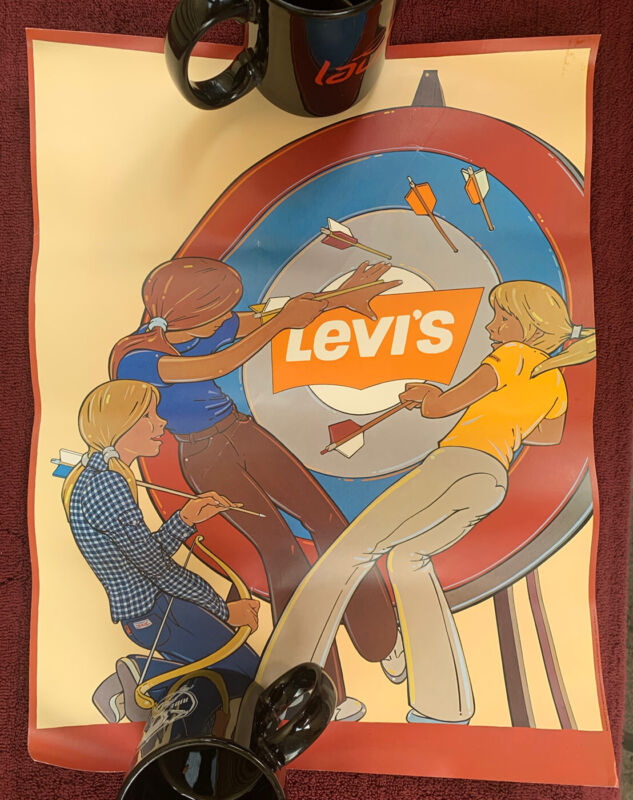 Levi's Jeans Vintage Poster Advertising Display Sign Rare Collectible 1978