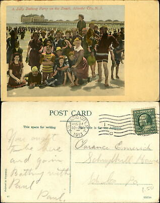 Party on the Beach Atlantic City New Jersey NJ vintage bathing suit mailed 1913 - Party City Nj