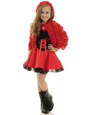 Little Red Girls Childs Riding Hood Halloween Fairytale Character Costume