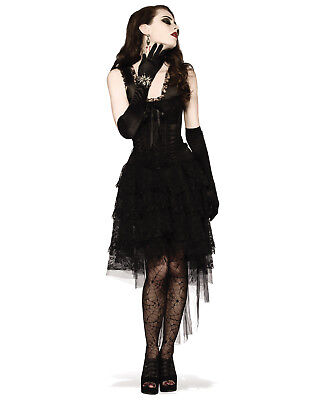 Black As Night Witch Vampire Gothic Lace Dress Halloween Costume-