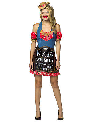 Western Whiskey Womens Adult American Liquor Halloween Costume Dress-Os