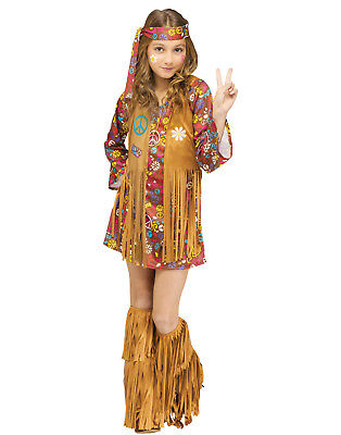 Kids Girl'S Peace & Love Hippie 60S 70S Child Go-Go Dress Up Halloween Costume - 60s Dress Up