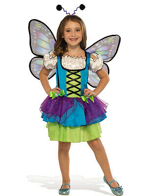 Glittery Blue Butterfly Girl Child Fairy Halloween Costume - Blue Fairy Halloween Costume