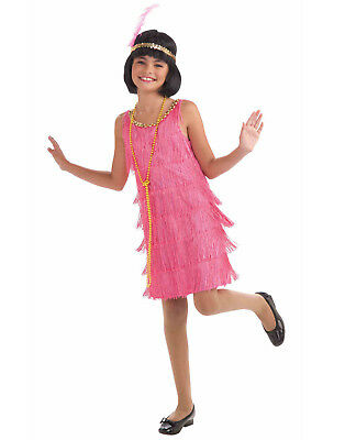 Childs Gatsby Fringe Dress Miss Flapper Pink Girls Costume - Small](Pink Flapper Girl Costume)