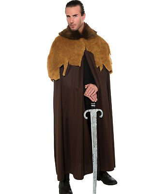 Renaissance Faux Fur Medieval King Cloak Cape Warrior Halloween Costume Mens