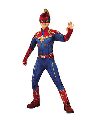Captain Marvel Girls Child Deluxe Padded Superhero Costume Suit