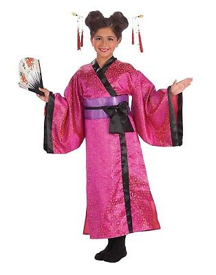 Geisha Dress Girls Child Japanese Performer Halloween Costume-S