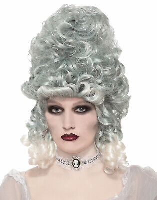 Victorian Southern Grey Silver Curly Ghost Zombie Bride Costume Wig - Zombie Bride