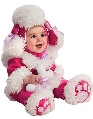 Baby Poodle Costume (Pink Poodle Baby Girl Infant Cuddly First Halloween Warm Costume (12-18)