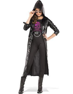 Schwarz Gothic Mädchen Biker Mantel Matrix Satz Kinder - Biker Mädchen Halloween Kostüm